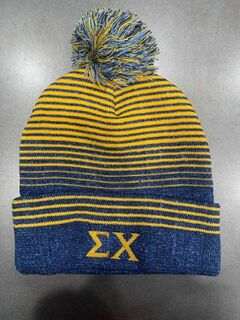 New Super Savings - Sigma Chi Beanie with Pom - BLUE AND GOLD 1 of 2