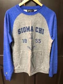 New Super Savings - Sigma Chi Crewneck - GREY AND BLUE