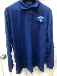 New Super Savings - Sigma Chi Emblem Long Sleeve Polo - BLUE