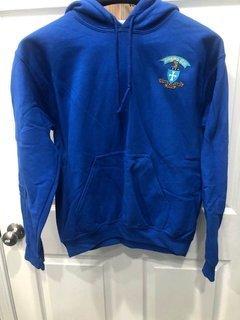 New Super Savings - Sigma Chi Shield Emblem Hooded Sweatshirt - BLUE