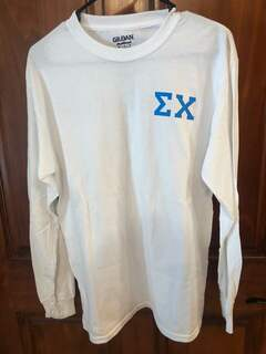 New Super Savings - Sigma Chi World Famous Crest - Shield Long Sleeve T-Shirt - WHITE in size M