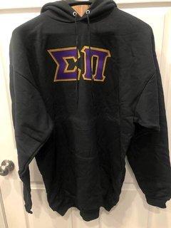 New Super Savings - Sigma Pi Lettered Hooded Sweatshirt - BLACK in size XLT