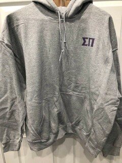 New Super Savings - Sigma Pi World Famous Crest - Shield Hooded Sweatshirt - GREY