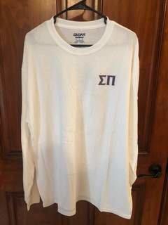New Super Savings - Sigma Pi World Famous Crest - Shield Long Sleeve T-Shirt - WHITE