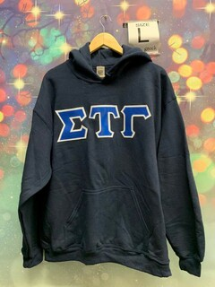 New Super Savings - Sigma Tau Gamma Lettered Hooded Sweatshirt - NAVY
