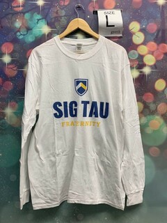 New Super Savings - Sigma Tau Gamma Sig Tau Fraternity Long Sleeve Tee - WHITE