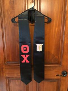 New Super Savings - Theta Chi Greek Lettered Graduation Sash Stole With Crest - BLACK 1 of 8