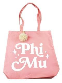 Phi Mu Retro Pom Pom Tote Bag