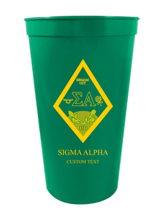 Sigma Alpha Custom Greek Crest Letter Stadium Cup