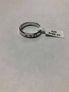 Super Savings - Alpha Chi Omega Sterling Silver Ring with Black Enamel - SILVER