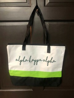 Super Savings - Alpha Kappa Alpha Affinity Tote Bag - LIME TRIM