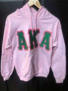 Super Savings - Alpha Kappa Alpha Jumbo Twill Hooded Sweatshirt - LIGHT PINK