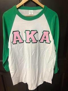 Super Savings - Alpha Kappa Alpha Lettered Raglan Shirt - WHITE AND GREEN