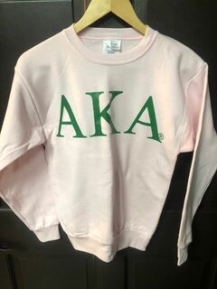 Super Savings - Alpha Kappa Alpha Lettered World Famous Greek Crewneck - PINK