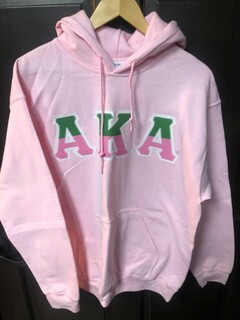 Super Savings - Alpha Kappa Alpha Two Tone Greek Lettered Hooded Sweatshirt - LIGHT PINK