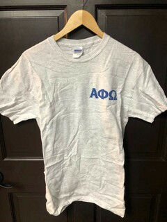 Super Savings - Alpha Phi Omega World Famous Crest Shield T-Shirt - LIGHT GREY