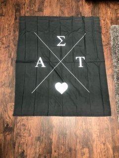 Super Savings - Alpha Sigma Tau Hipster Logo Wall Tapestry - BLACK