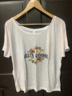 Super Savings - Delta Gamma Floral Tribal Slouchy Tee - WHITE