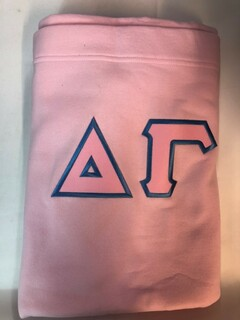 Super Savings - Delta Gamma Lettered Twill Sweatshirt Blanket - PINK 1 of 2