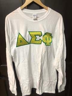 Super Savings - Delta Sigma Phi Custom Twill Long Sleeve T-Shirt - WHITE