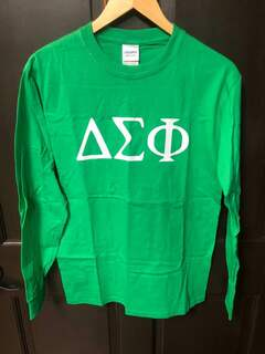 Super Savings - Delta Sigma Phi Letter Long Sleeve Tee - GREEN