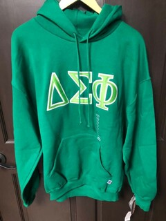 Super Savings - Delta Sigma Phi Lettered Hooded Sweatshirt - GREEN 1 of 2