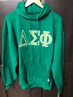Super Savings - Delta Sigma Phi Lettered Hooded Sweatshirt - GREEN in size L