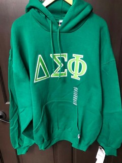Super Savings - Delta Sigma Phi Lettered Hooded Sweatshirt - GREEN in size XXL