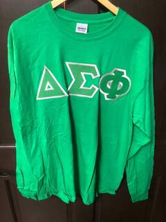 Super Savings - Delta Sigma Phi Lettered Long Sleeve Tee - GREEN