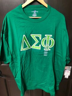 Super Savings - Delta Sigma Phi Lettered T-Shirt - GREEN in size XXL 1 of 2