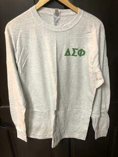 Super Savings - Delta Sigma Phi World Famous Crest Shield Long Sleeve T-Shirt - LIGHT GREY
