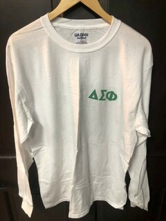 Super Savings - Delta Sigma Phi World Famous Crest Shield Long Sleeve T-Shirt - WHITE