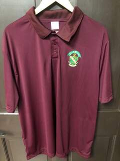 Super Savings - Farmhouse Fraternity Crest - Shield Emblem Polo - MAROON
