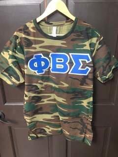 Super Savings - Phi Beta Sigma Lettered Camouflage T-Shirt - CAMO