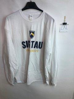 Super Savings - Sig Tau Fraternity Long Sleeve Tee - WHITE