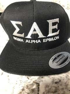 Super Savings - Sigma Alpha Epsilon Flatbill Snapback Hat Original - BLACK