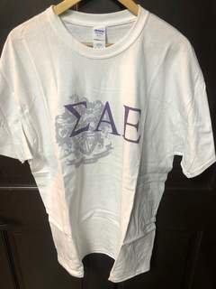 Super Savings - Sigma Alpha Epsilon Greek Crest - Shield T-Shirt - WHITE