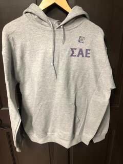 Super Savings - Sigma Alpha Epsilon World Famous Crest - Shield Hooded Sweatshirt - GREY