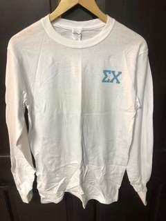 Super Savings - Sigma Chi Flag Long Sleeve T-Shirt - WHITE