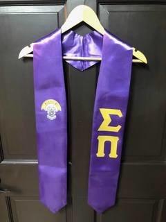 Super Savings - Sigma Pi Lettered Graduation Sash Stole With Crest - PURPLE 1 of 2