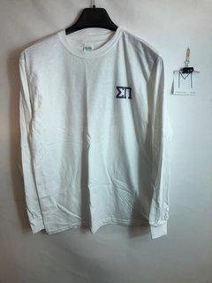 Super Savings - Sigma Pi World Famous Crest - Shield Long Sleeve T-Shirt - WHITE