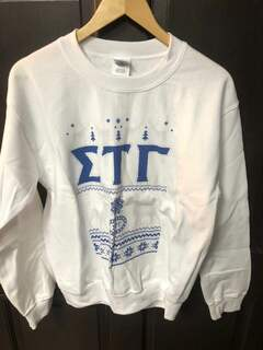 Super Savings - Sigma Tau Gamma Ugly Christmas Sweater Crewneck Sweatshirt - WHITE