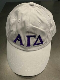 The New Super Savings - Alpha Gamma Delta Greek Letter Hat - WHITE
