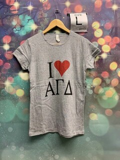 The New Super Savings - Alpha Gamma Delta I Love Tee - GREY