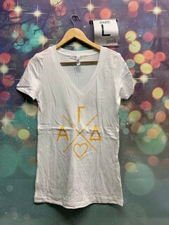 The New Super Savings - Alpha Gamma Delta Infinity V-Neck Tee - WHITE