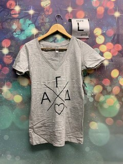 The New Super Savings - Alpha Gamma Delta Infinity V-Neck Tee with black font - GREY