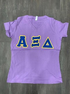 The New Super Savings - Alpha Xi Delta Lettered V-Neck Tee - PURPLE 1 of 4