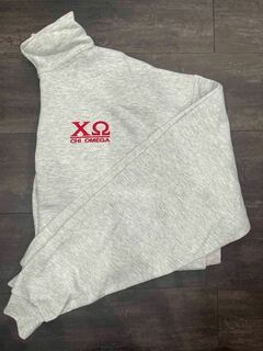 The New Super Savings - Chi Omega Quarter Zip Sweatshirt - GREY