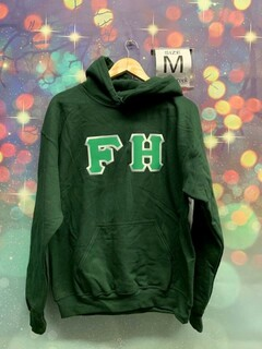 The New Super Savings - FarmHouse Fraternity Lettered Hooded Sweatshirt - GREEN