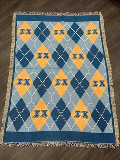 The New Super Savings - Sigma Chi Afghan Blanket Throw - BLUE AND GOLD